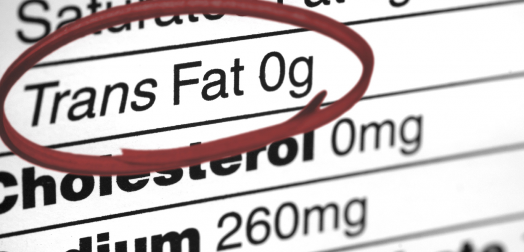 Trans fat on nutrition label